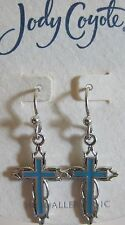 Jody Coyote Earrings JC0793 new silver turquoise cross Baroque BRQ-0113-10