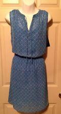Lauren Ralph Lauren Blue Print  Chiffon Sleeveless Blouson Dress Sz 4 $140