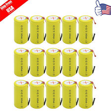 15x SubC SC Cell 3400mAh 1.2V NiCd Rechargeable Battery Tab For Power Tools USA