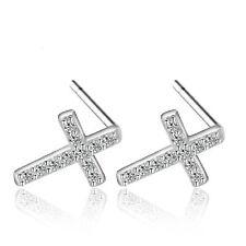 Crystal Ear Stud Earrings Jesus Cross Women 925 Sterling Silver Jewelry Elegant