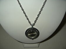Vintage TELTIME Antimagnetic Ladies Silvertone Wind Up Watch Pendant Necklace