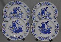 Set (4) Copeland Spode MULTICOLOR BLUE BOWPOT PATTERN Dinner Plates ENGLAND