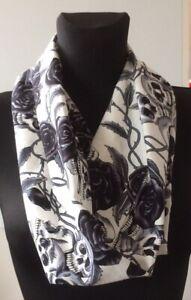 handmade cowl, snood, neck warmer, scarf, cotton skulls and black roses