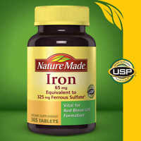 Nature Made Iron 65 mg - 365 Tablets Dietary Supplement July 2021