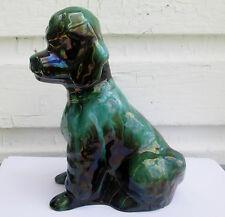 VTG BLUE MOUNTAIN POTTERY POODLE DOG GREEN & BLACK COLOR
