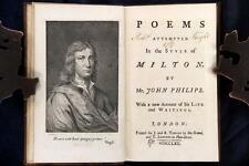 John Philips Poems Attempted In the Style of Milton 1762 Burlesque Reserve