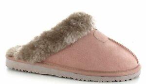 Ella Womens Jill Slippers Warm Lined Faux Fur Sheepskin Look Memory Foam Mule