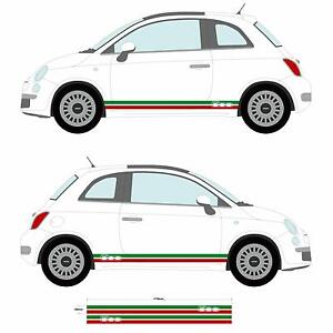 Fiat 500 Italian Flag Side Skirt Stripes - Stickers Car decal graphic