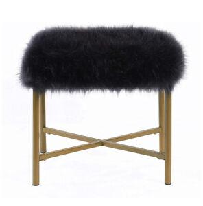 HomePop K7225-B227 Faux Fur Square Ottoman - Pink