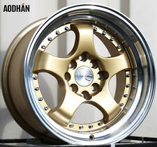 Aodhan Ah03 15X8 4X100/114.3 Et20 Gold Rims Fits Civic Crx Del So Fit Prelude