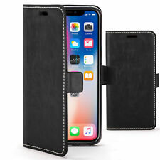 Apple iPhone X Case Handmade PU Leather Premium Flip Cover Wallet Black