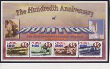 Zambia 100 Years of Aviation Sheet & S/S MNH Scott 1025-1026