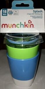 Munchkin Splash Toddler Cups w/Training Lids, 7 Oz ~2 Pk Green & Blue 18M+ ~ NEW