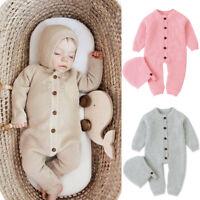 Newborn Infant Baby Girls Boys Winter Warm Coat Knit Romper Jumpsuit Hat Outfit