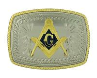 Mason Compass Masonic Symbol Western Cowboy Gold Color Rectangle Belt Buckle