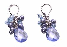 Gorgeous-translucent Blue Crystal Droplet & Cluster Beads Hook Earrings(Zx287)
