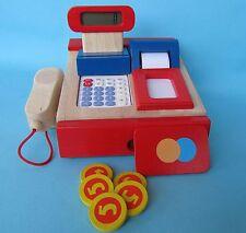 Kinder Ladenkasse aus Holz Kaufladenkasse mit Taschenrechner Kaufladen °51807