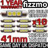 10x 41mm 264 C5W SV8 6000k BRIGHT WHITE 3 SMD LED FESTOON LIGHT BULB ERROR FREE