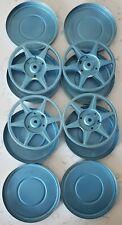 4 x Vintage Compco 8mm 200ft Metal Reel w/ Can Case Chicago USA Blue