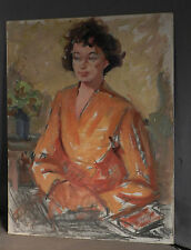 Vintage modern 20th Century Oil Painting Study Girl Orange Kimono WPA Era