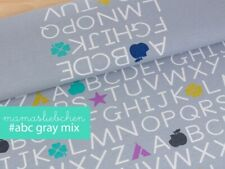 "Jersey-Stoff Mädchen Baby Damen Einschulung ""ABC #gray-mix"" - Panel ca. 0,55m"