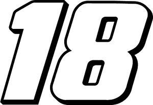 NEW FOR 2019 #18 Kyle Busch Racing Sticker Decal - SM thru XL - Various colors