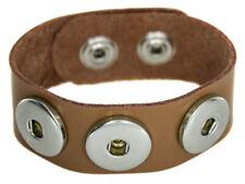 Chunk Leder Armband beige 3 Druckknöpfe Click Button Kette Ring Snap Wechsel NEU