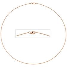 Halsreif 925 Sterling Silber rotgold vergoldet 1,1 mm 42 cm Kette Halskette.