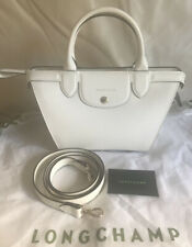 NWT Longchamp Women's Small White Le Pliage Heritage Saffiano-Leather Satchel