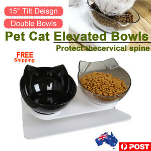 Double Tilted Cat Bowl Stand Food Water Feeding Bowl Pet Dog Cat Feeder elevated