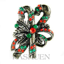 Candy Cane Stick Bow Holiday made with Swarovski Crystal Xmas Red Green Brooch