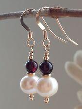 White Freshwater Pearls & Garnet Gemstones 14ct Rolled Gold Earrings