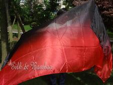 "black-red 3yd*45"" belly dance silk veil+bag, light 5mm silk, edges rolled"
