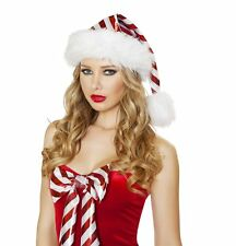Santa Claus Elf Helper CANDY CANE White/Red Christmas Hat Fur Trimmed New