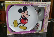 Vintage Disney Mickey Melamine Plate Set - Sealed In Box