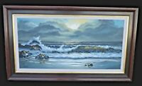 Vintage Oil  on Canvas Painting California Seascape Signed Drieband 1968