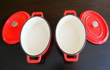 Fabulous Pair Cast Iron Casserole Dishes - Red