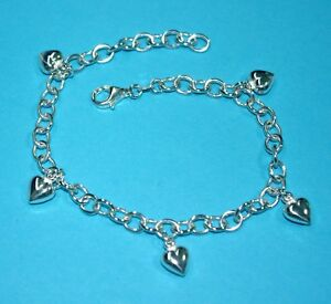 Sterling Silver 925 Thick and Heavy Cable Chain HEART CHARMS ANKLET - Your size
