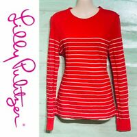 Lilly Pulitzer Women's Coral Striped Top Long Sleeve Shirt Medium