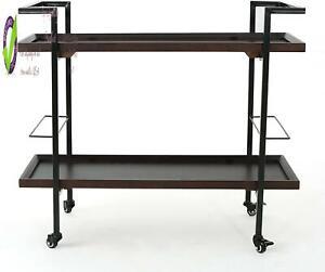 Christopher Knight Home Rard Industrial Wooden Bar Cart, Dark Walnut Finish / Bl