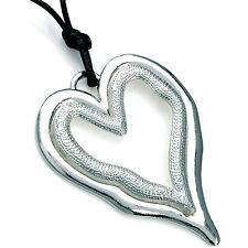 Lagenlook colore argento con Trama Larga Cuore Nero Cavo 70 cm di lunghezza COLLANA