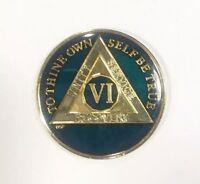 6 Year AA Sobriety Coin Medallion- Rich Midnight Blue Enamel Sixth Year VI