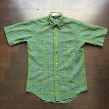 Vintage JC Penney 60s Short Sleeves Shirt Plaid Green Mens Med Fits Small
