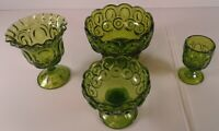 4 Pc Lot Moon and Stars Compote Open Candy Dish Goblet Green Glass L E Smith