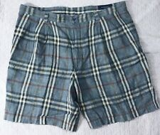 Mens Burberry London Blue Plaid Pleated shorts size 36 * Stain *