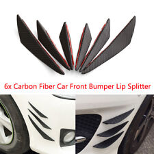 Carbon Fiber Car Front Bumper Lip Splitter Fins Body Spoiler Canards Valence 6pc