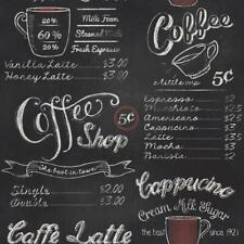 Rasch Black White Coffee Shop Wallpaper Retro Vintage Chalk Board Typography