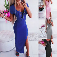 Women's Short Sleeve Bodycon Dress Evening Party Cocktail Solid Split Long Dress