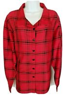 Coldwater Creek Top Shirt Size 3X 100% Silk Red Black Long Sleeve Button Plus