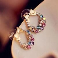 1pair Fashion Women Lady Elegant Crystal Rhinestone Ear Stud Earrings JewelryMTA